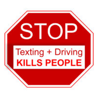 Stop sign that reads texting + driving