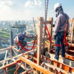 Construction worker wear standard personal protective equipment dismantle steel structure at height rise building project